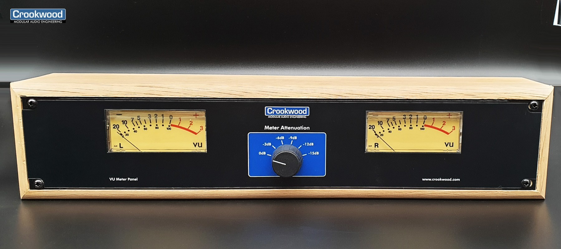 Crookwwod Vu mètre stéréo avec rack en bois