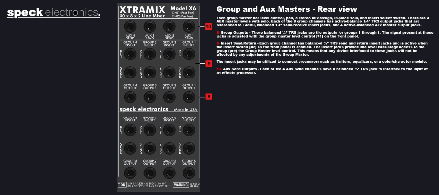 Speck Electronics Xtramix X6 - Group & AUX Masters Back