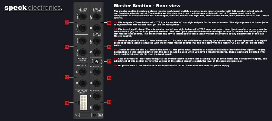 Speck Electronics Xtramix X6 - Master Section Back