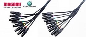 8 Pairs Mogami XLR Male / XLR female cable of 1 m / 1 ft