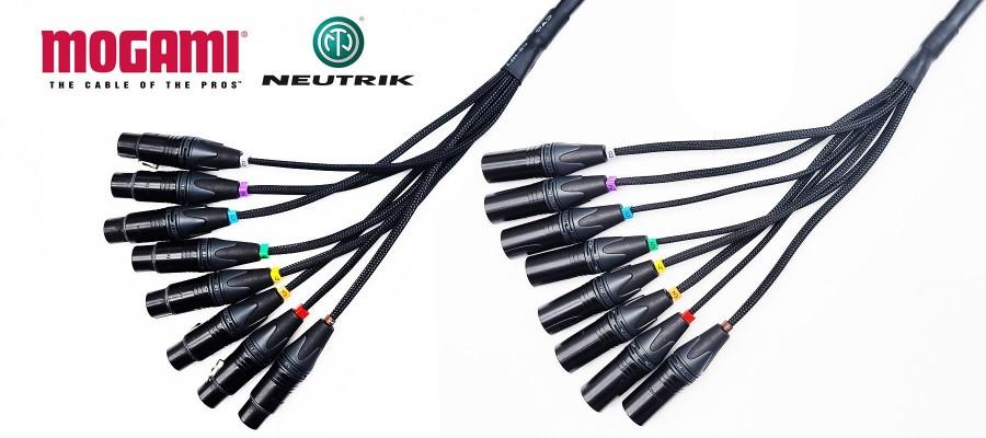 8 Pairs Mogami XLR Male / XLR female cable of 3 m - 10 ft