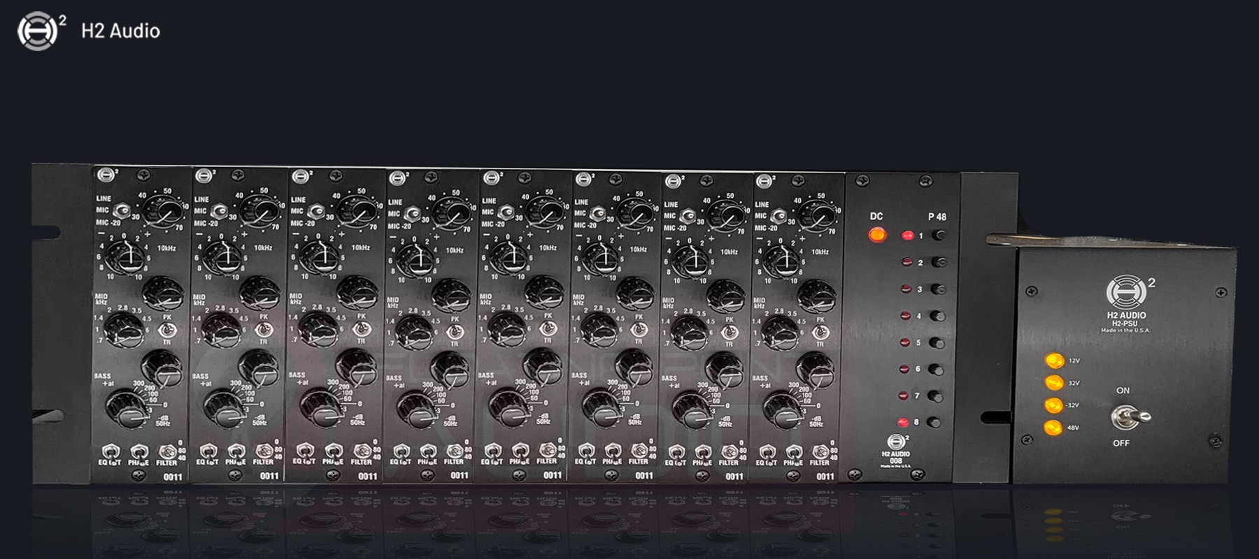 H2 Audio 008 Rack - With 0011 Modules